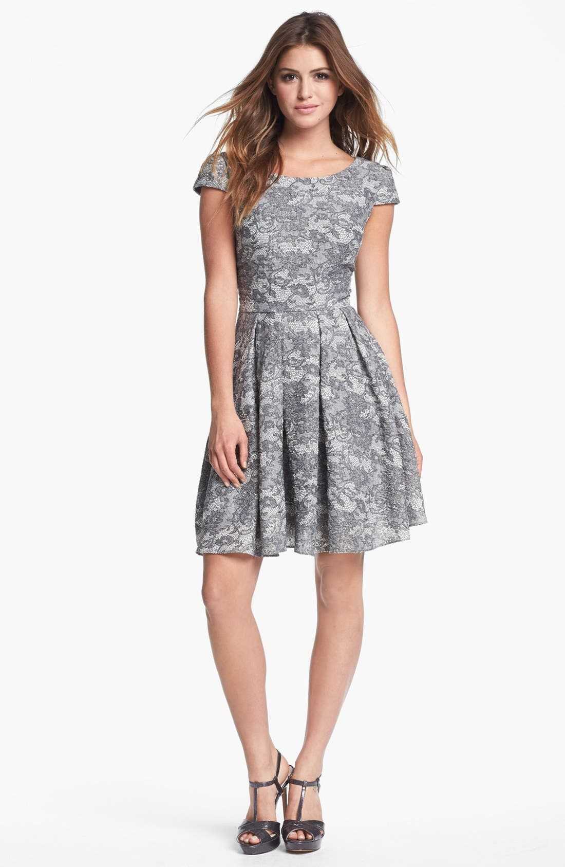Alternate Image 1 Selected - Betsey Johnson Lace Print Fit & Flare Dress