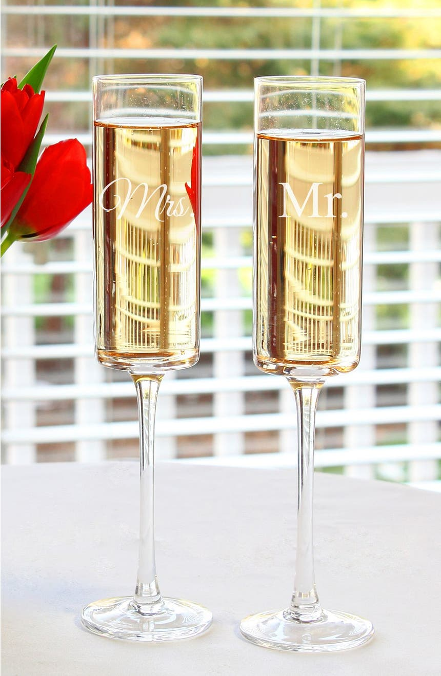 cathy's concepts 'for the couple' etched contemporary champagne  - cathy's concepts 'for the couple' etched contemporary champagne flutes (setof )  nordstrom