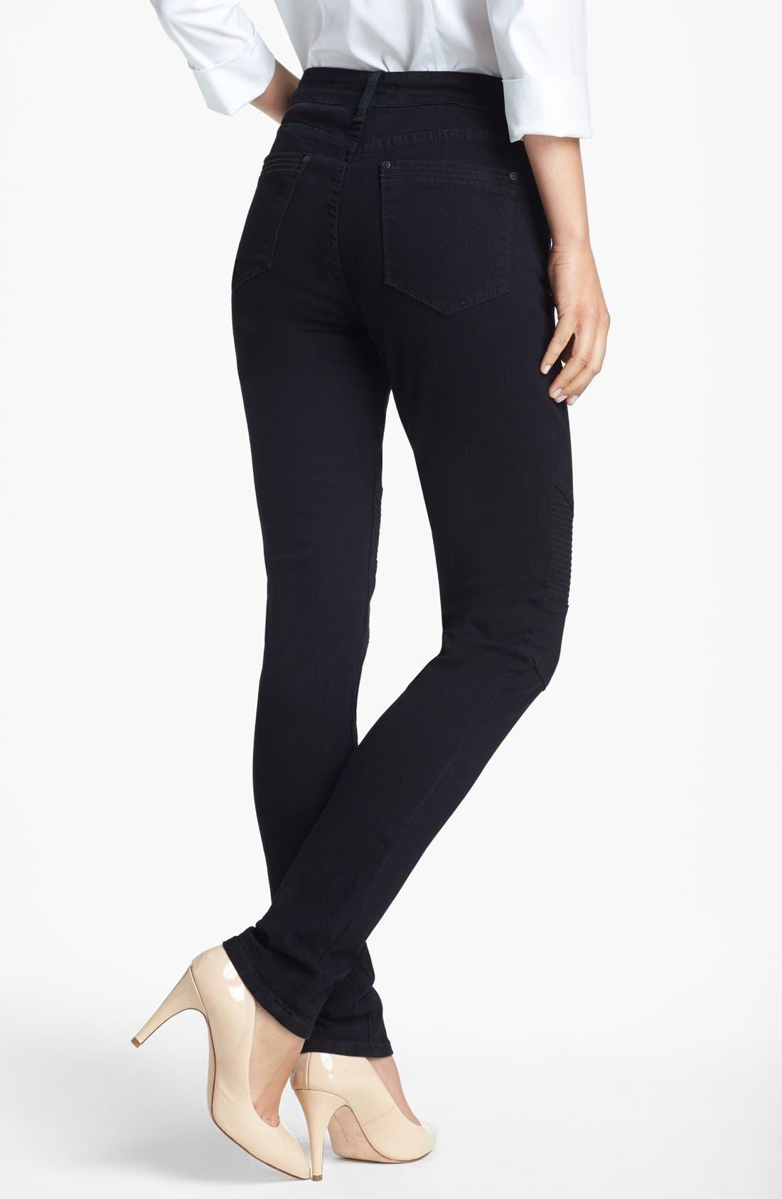 Alternate Image 2  - NYDJ Gabriella' Stretch Moto Skinny Jeans (Black)