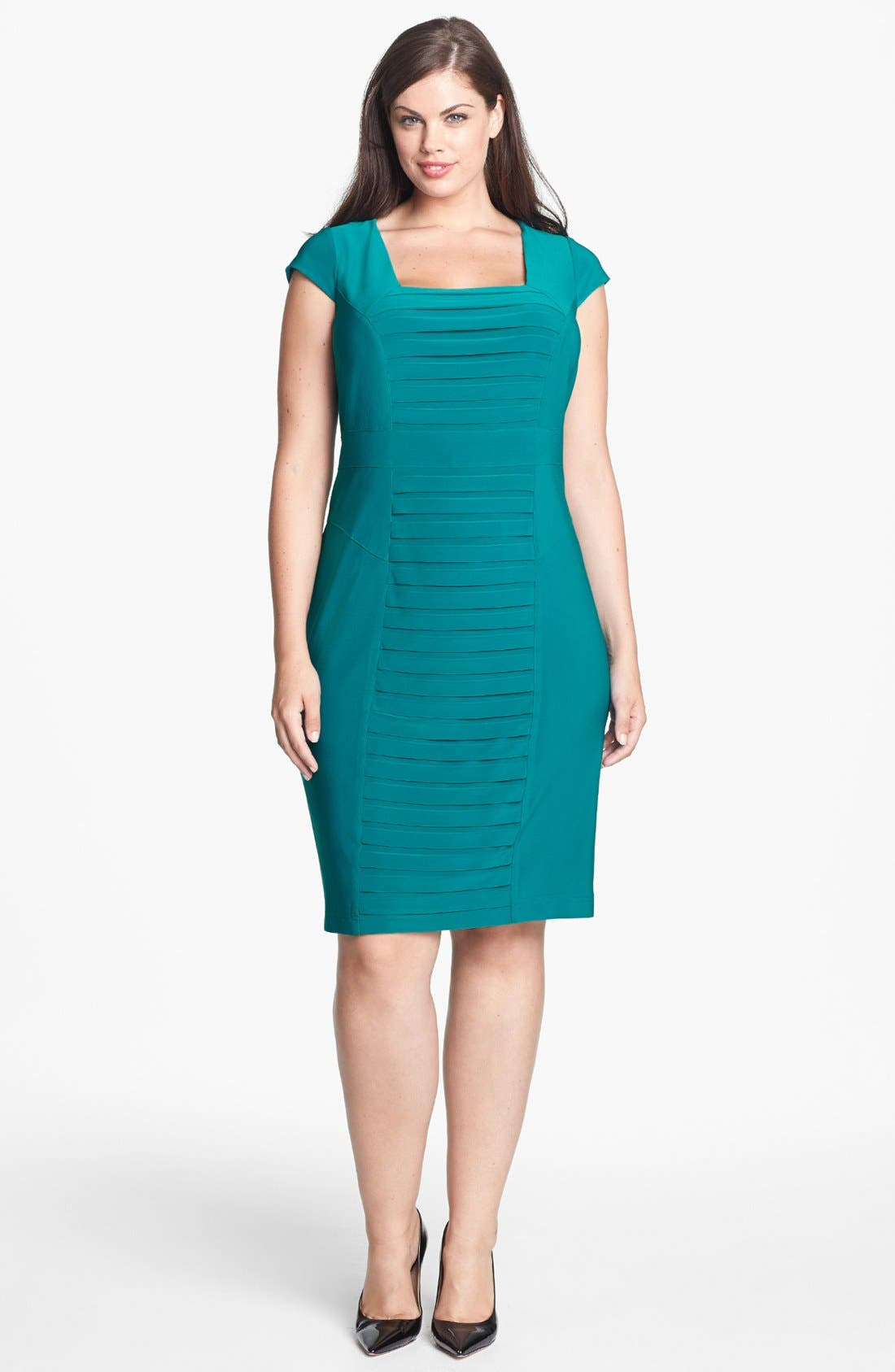 Main Image - Adrianna Papell Partial Pleat Jersey Sheath Dress (Plus Size)