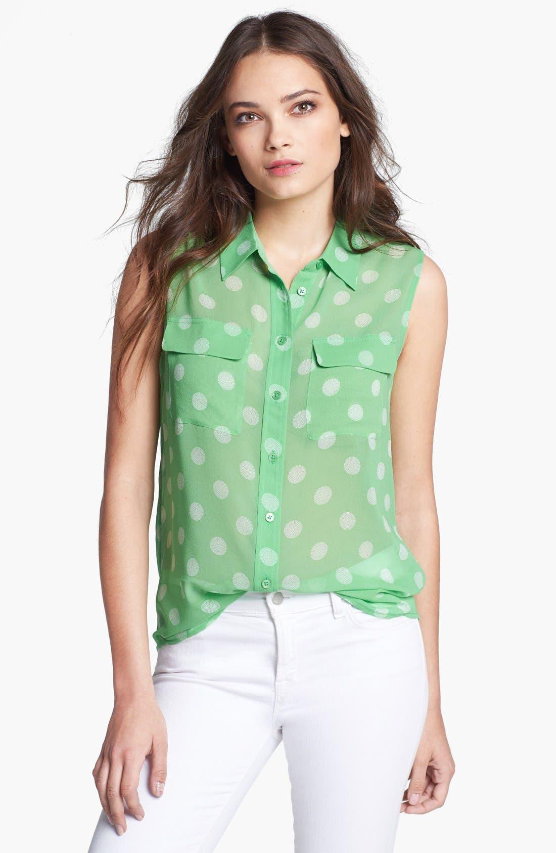 'Slim Signature' Silk Top,                             Main thumbnail 1, color,                             Irish Green