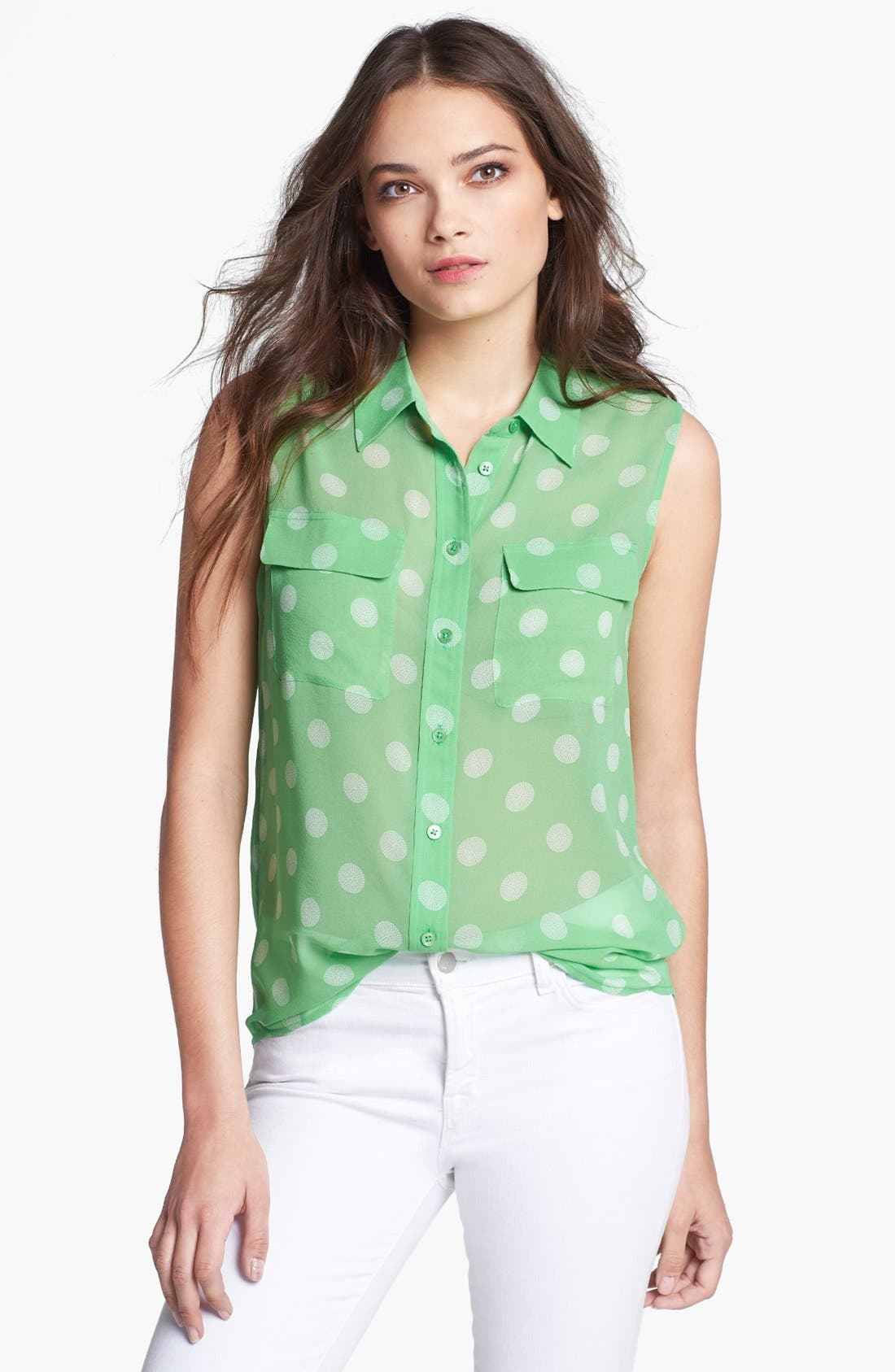 'Slim Signature' Silk Top,                         Main,                         color, Irish Green