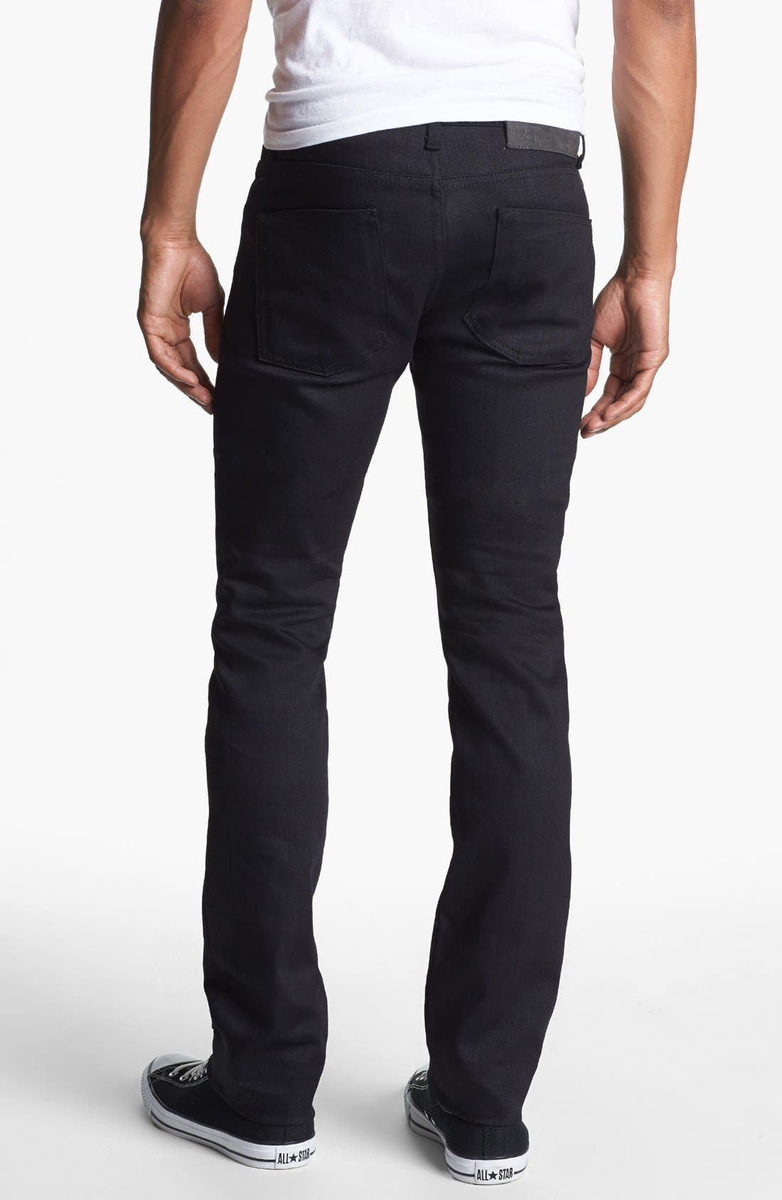 Alternate Image 2  - Naked & Famous Denim Skinny Guy Skinny Fit Jeans (Black Power Stretch)