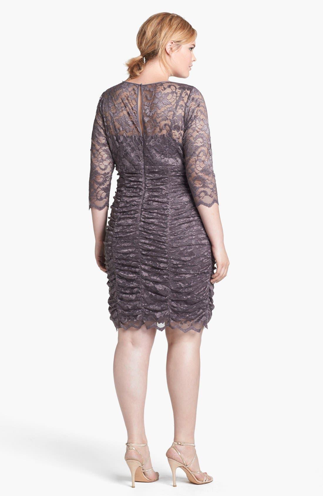 Alternate Image 2  - Eliza J Ruched Lace Dress (Plus Size)