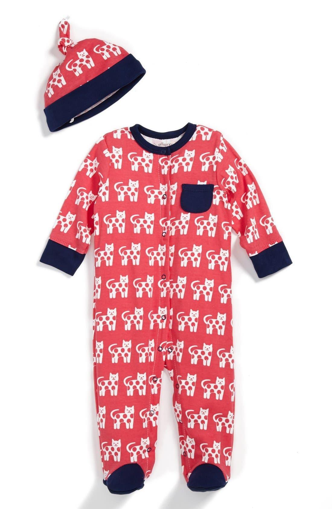 Main Image - Offspring 'Cat' Footie & Hat (Baby Girls)