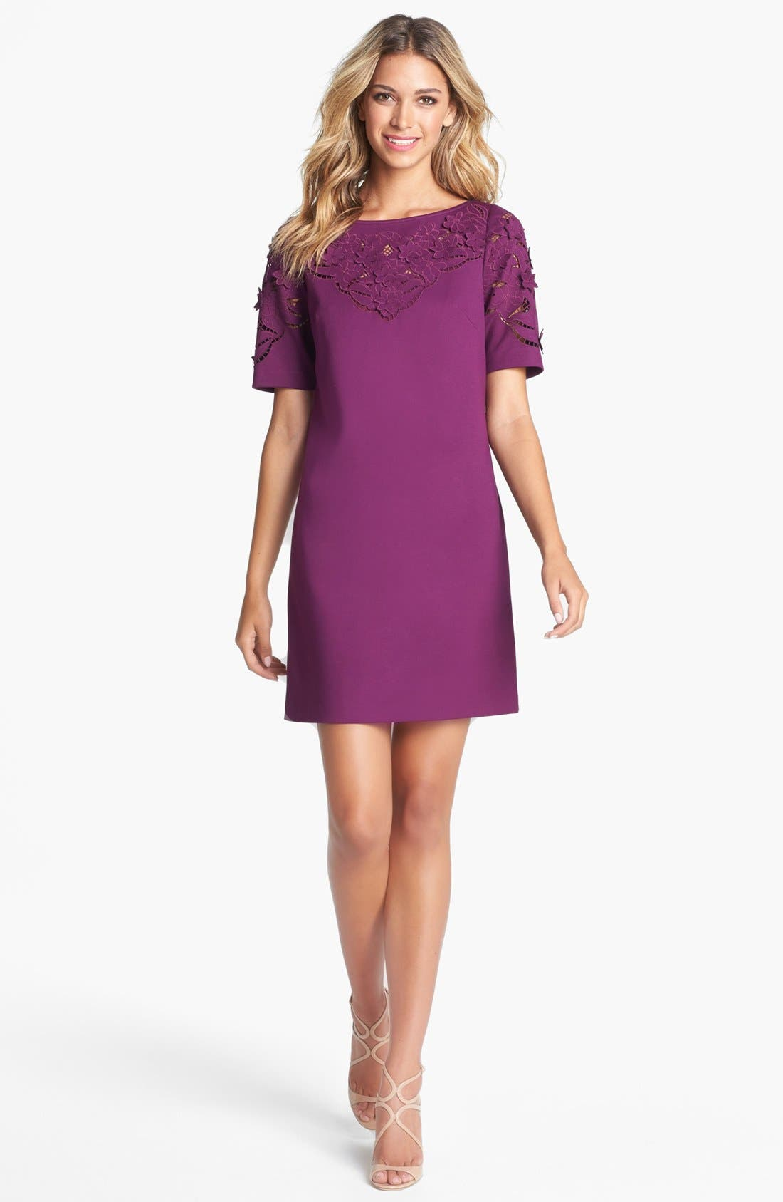 Main Image - Laundry by Shelli Segal Laser Cut Ponte Knit Shift Dress