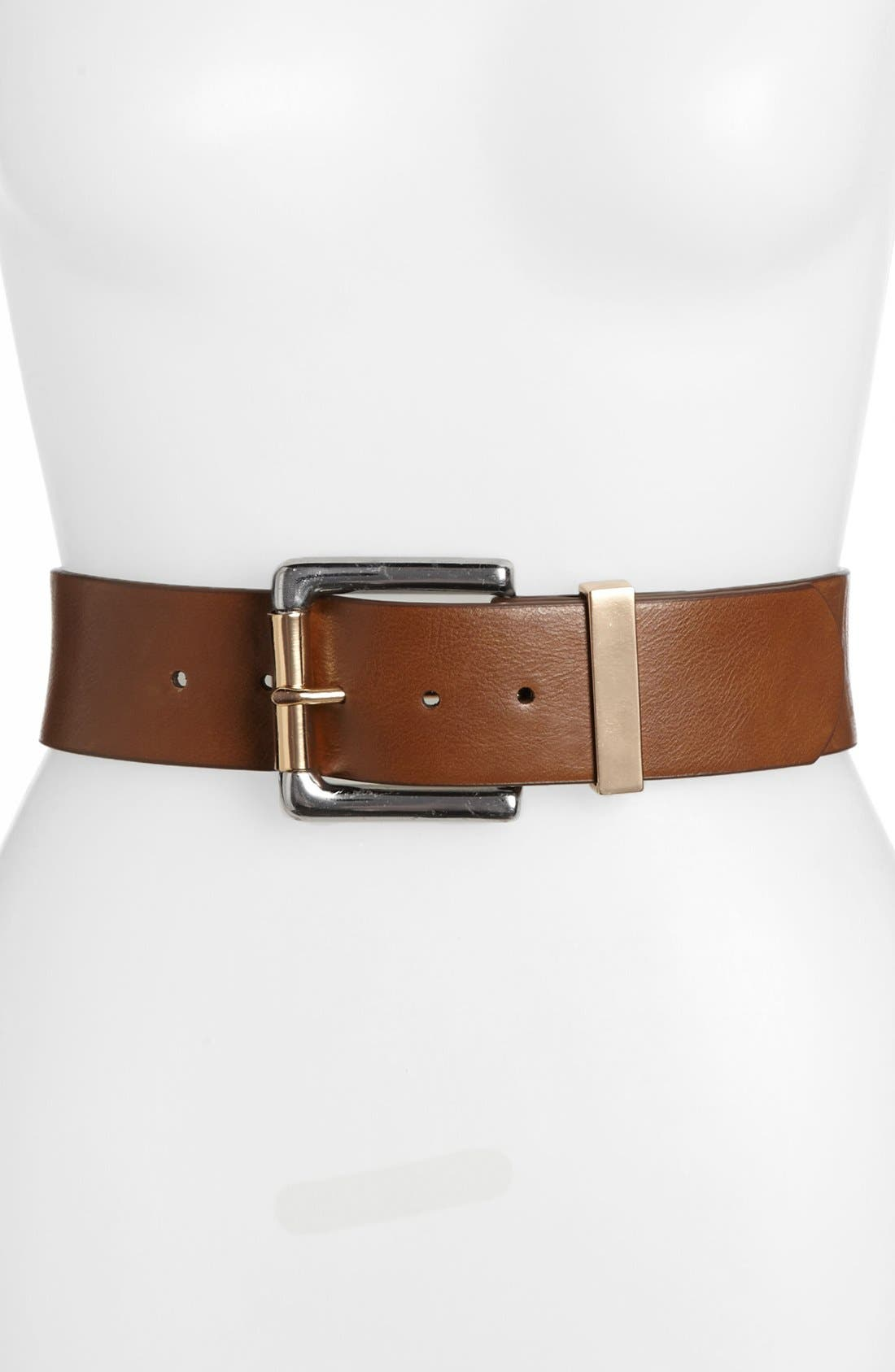 Alternate Image 1 Selected - Isaac Mizrahi New York Faux Leather Belt