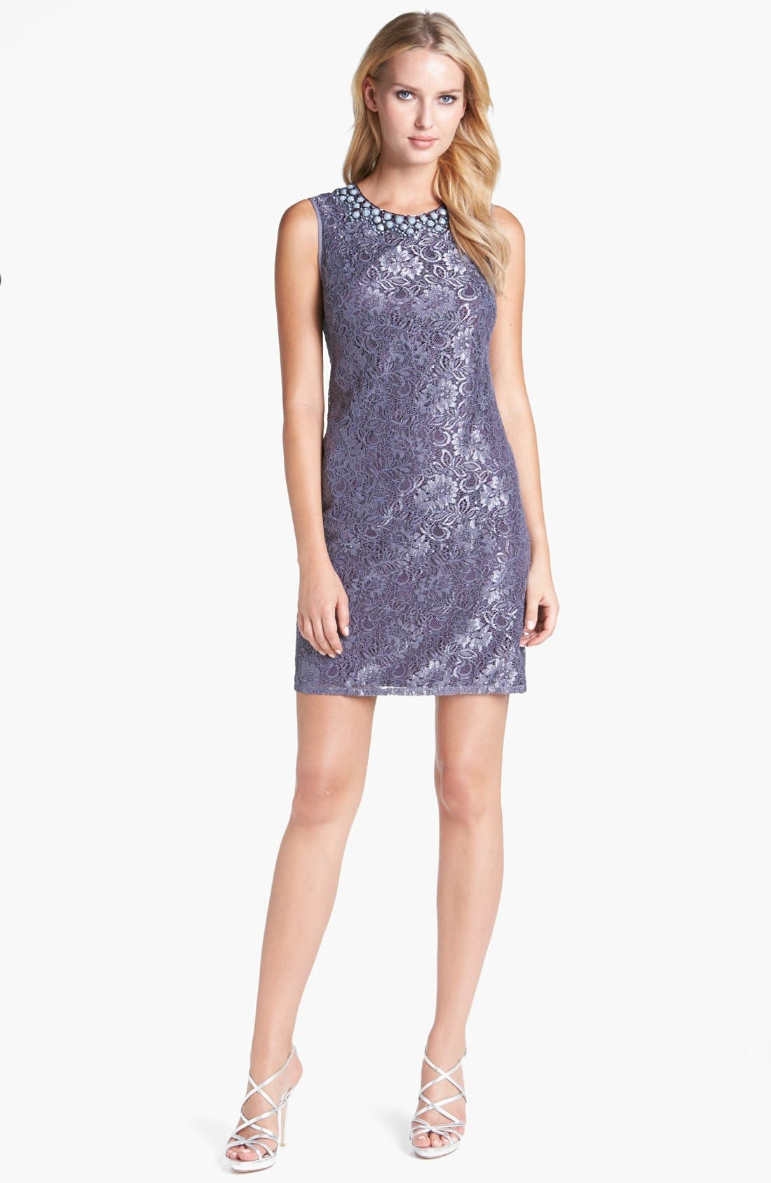 Embellished Lace Shift Dress,                         Main,                         color, Grey