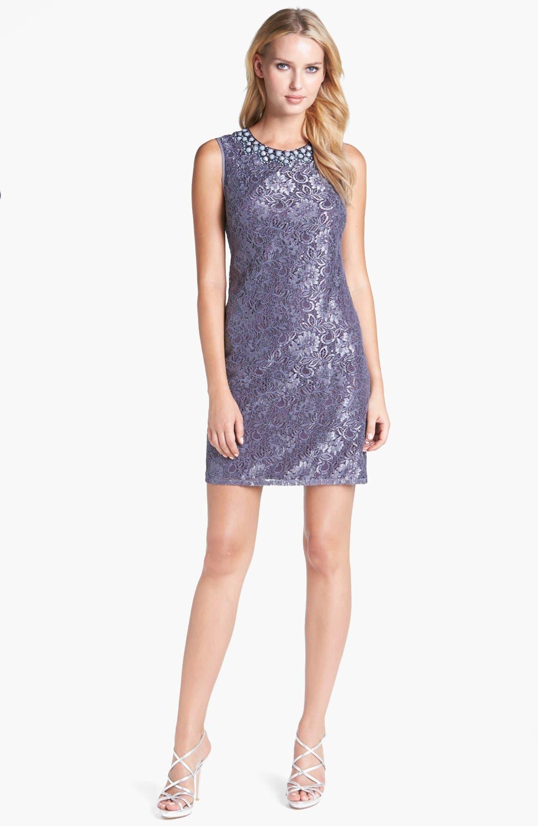 Embellished Lace Shift Dress,                         Main,                         color, Grey