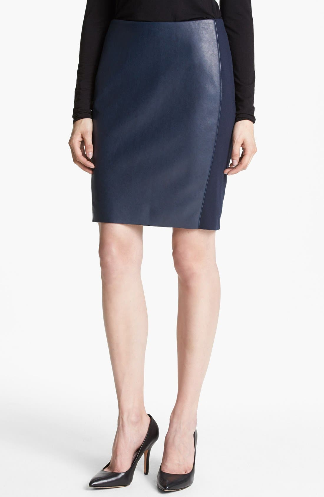 'She Walk in Beauty' Faux Leather Pencil Skirt,                             Main thumbnail 1, color,                             Navy
