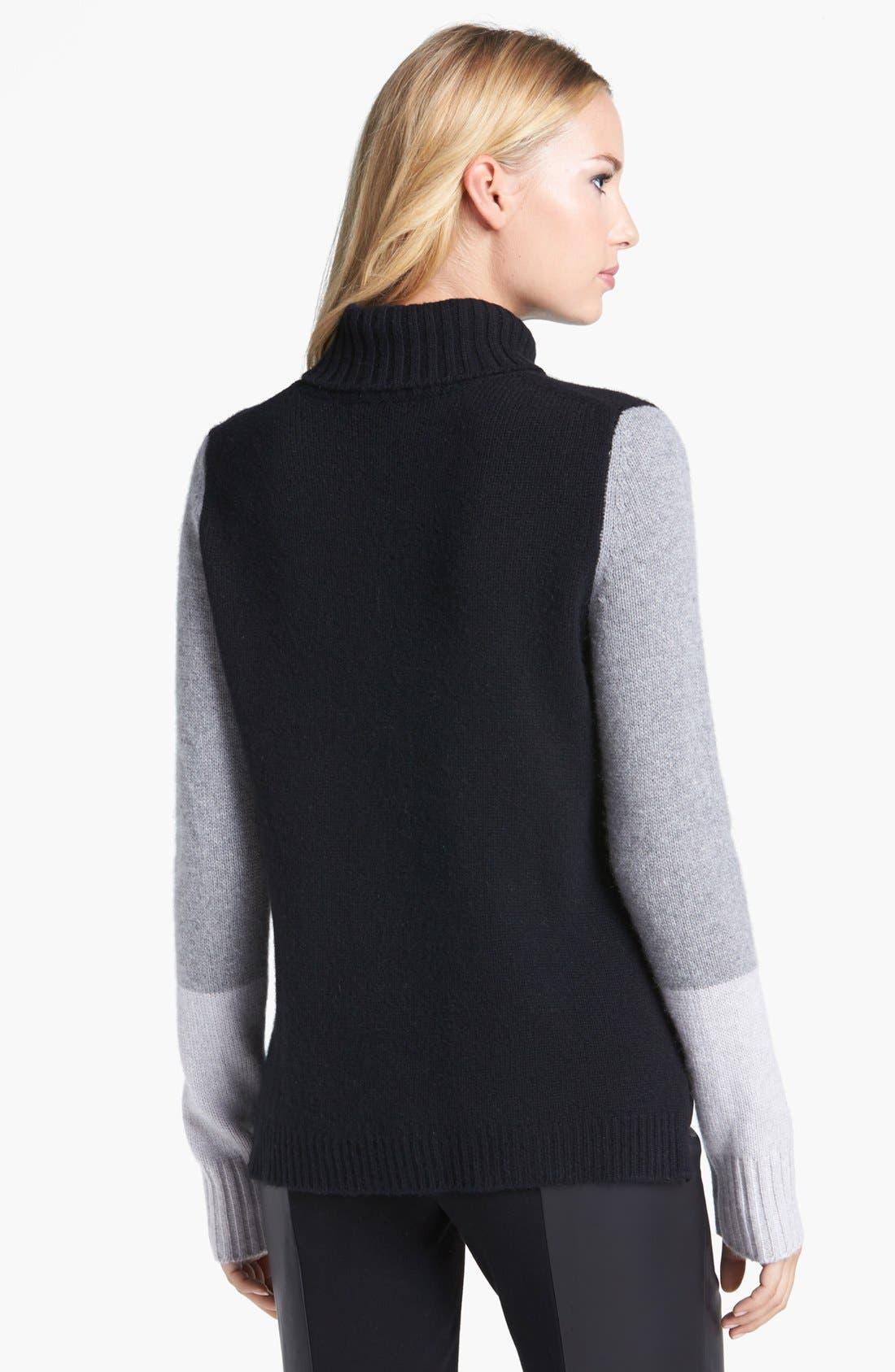 Alternate Image 2  - Pure Amici Colorblock Cashmere Turtleneck Sweater