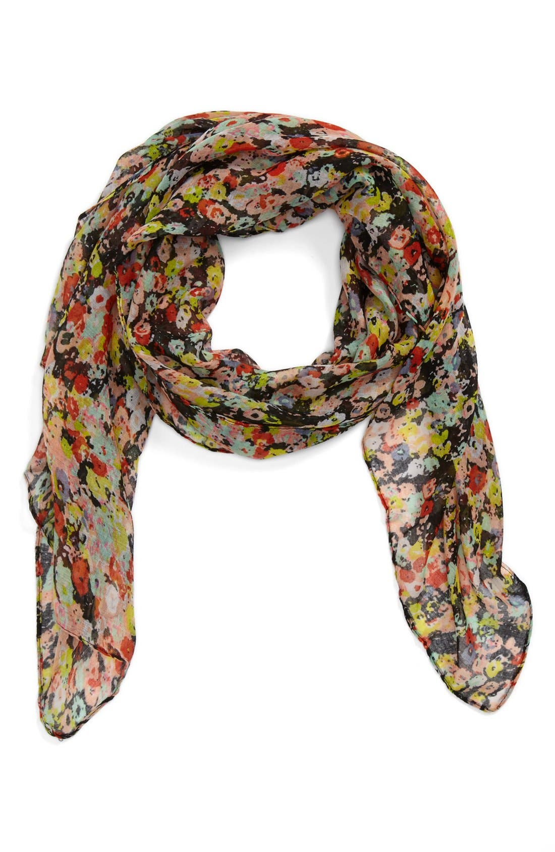 'Mini Floral' Scarf,                             Main thumbnail 1, color,                             Black Floral