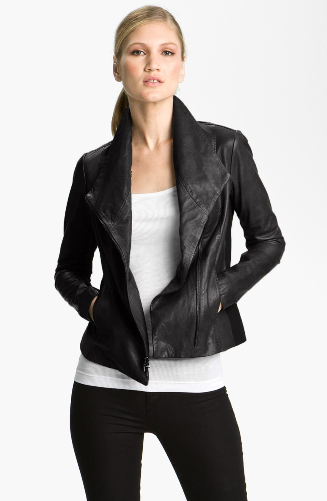 Alternate Image 1 Selected - Vince Leather Scuba Jacket