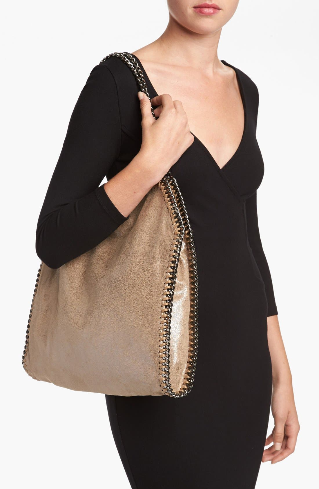 'Small Falabella' Faux Leather Tote,                             Alternate thumbnail 2, color,                             Redwood