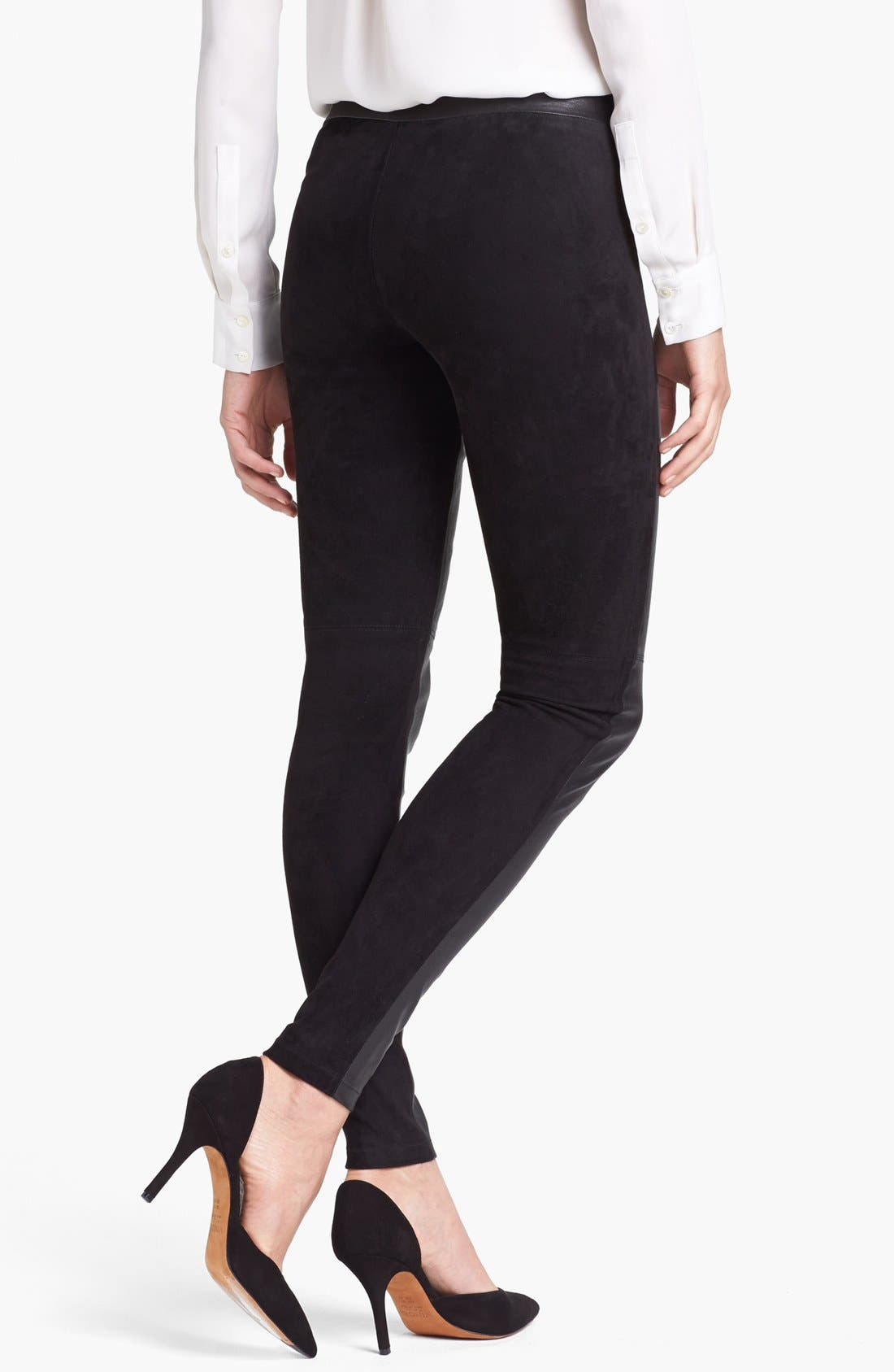 Alternate Image 2  - Vince Leather & Suede Contrast Leggings