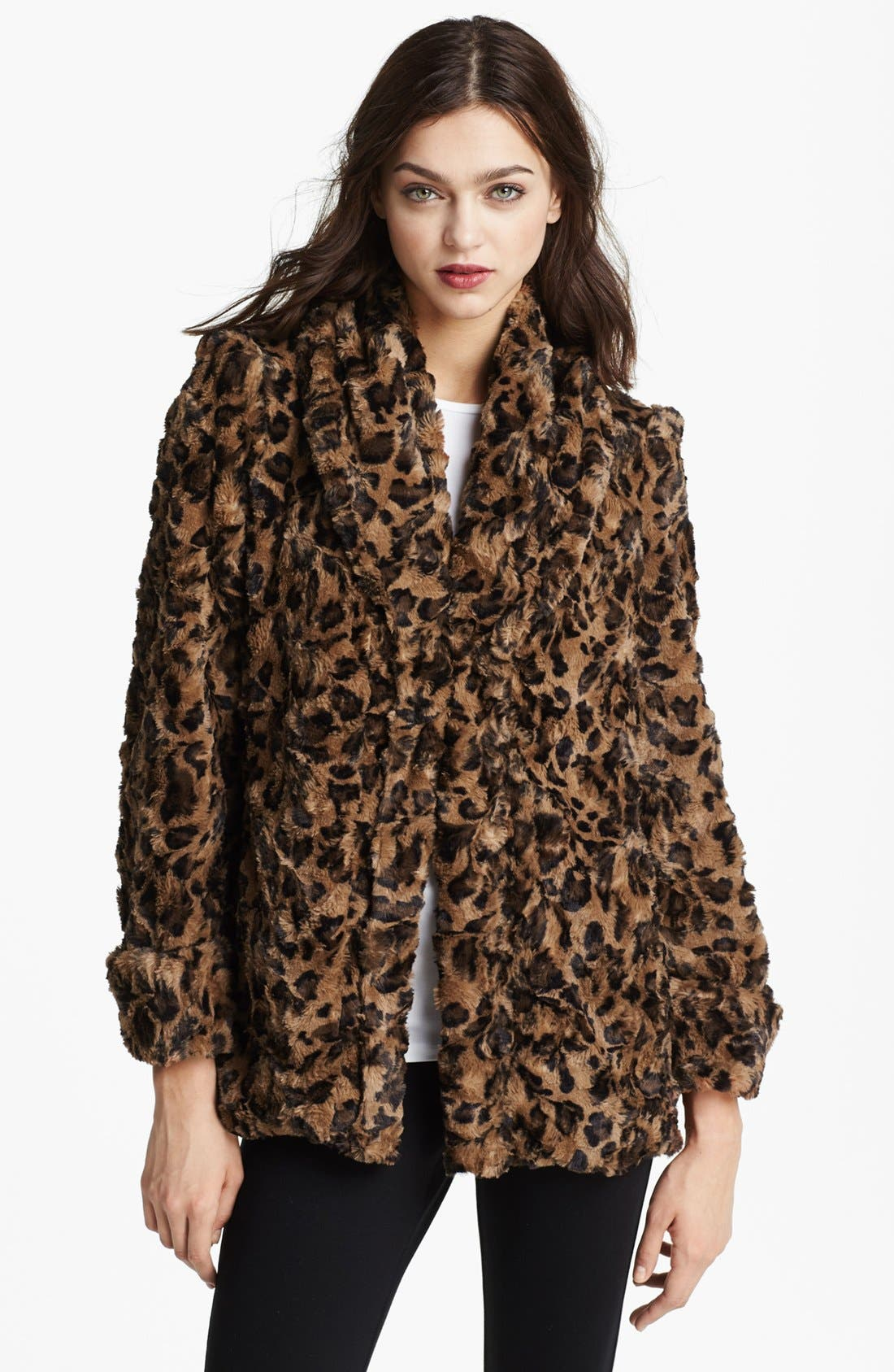 Alternate Image 1 Selected - Alice + Olivia Leopard Print Faux Fur Jacket