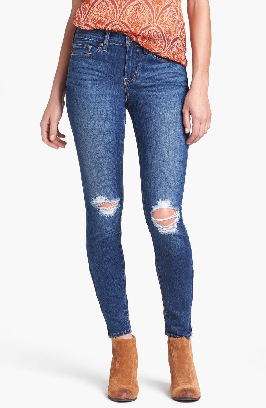 Main Image - Lucky Brand 'Sofia' Destroyed Ankle Zip Skinny Jeans (Possum Trot)