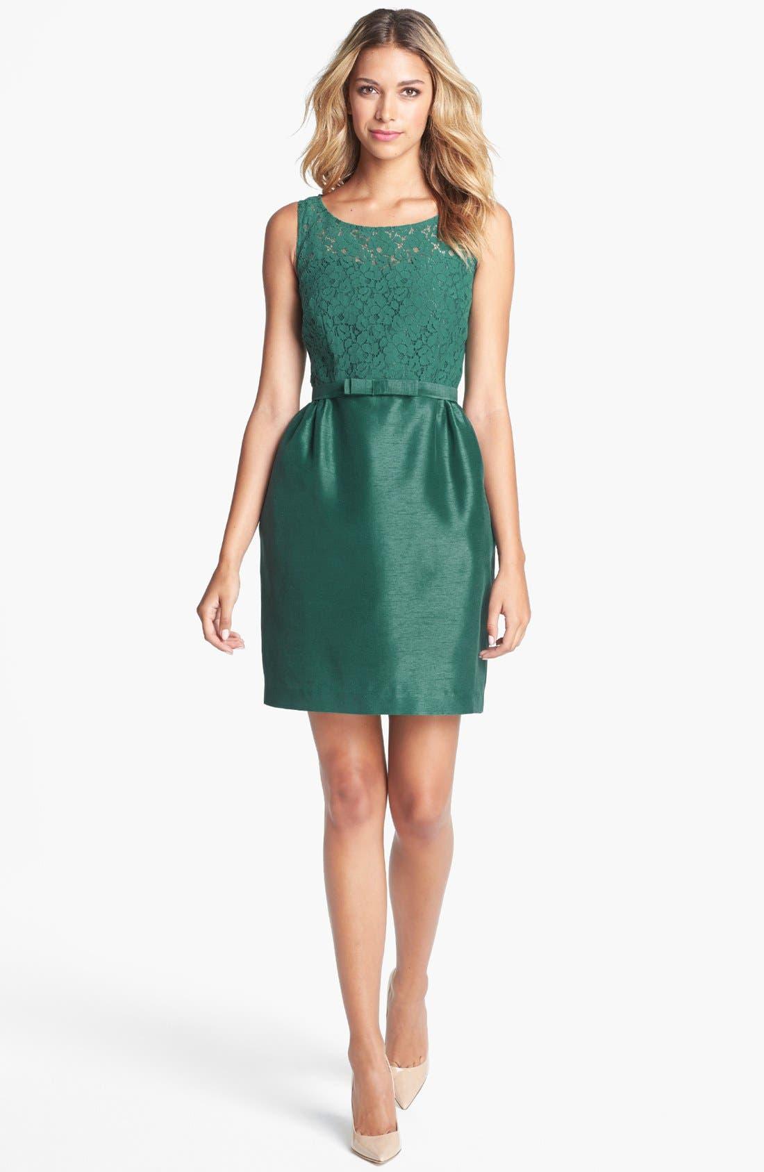 Alternate Image 1 Selected - Taylor Dresses Lace & Satin Sheath Dress