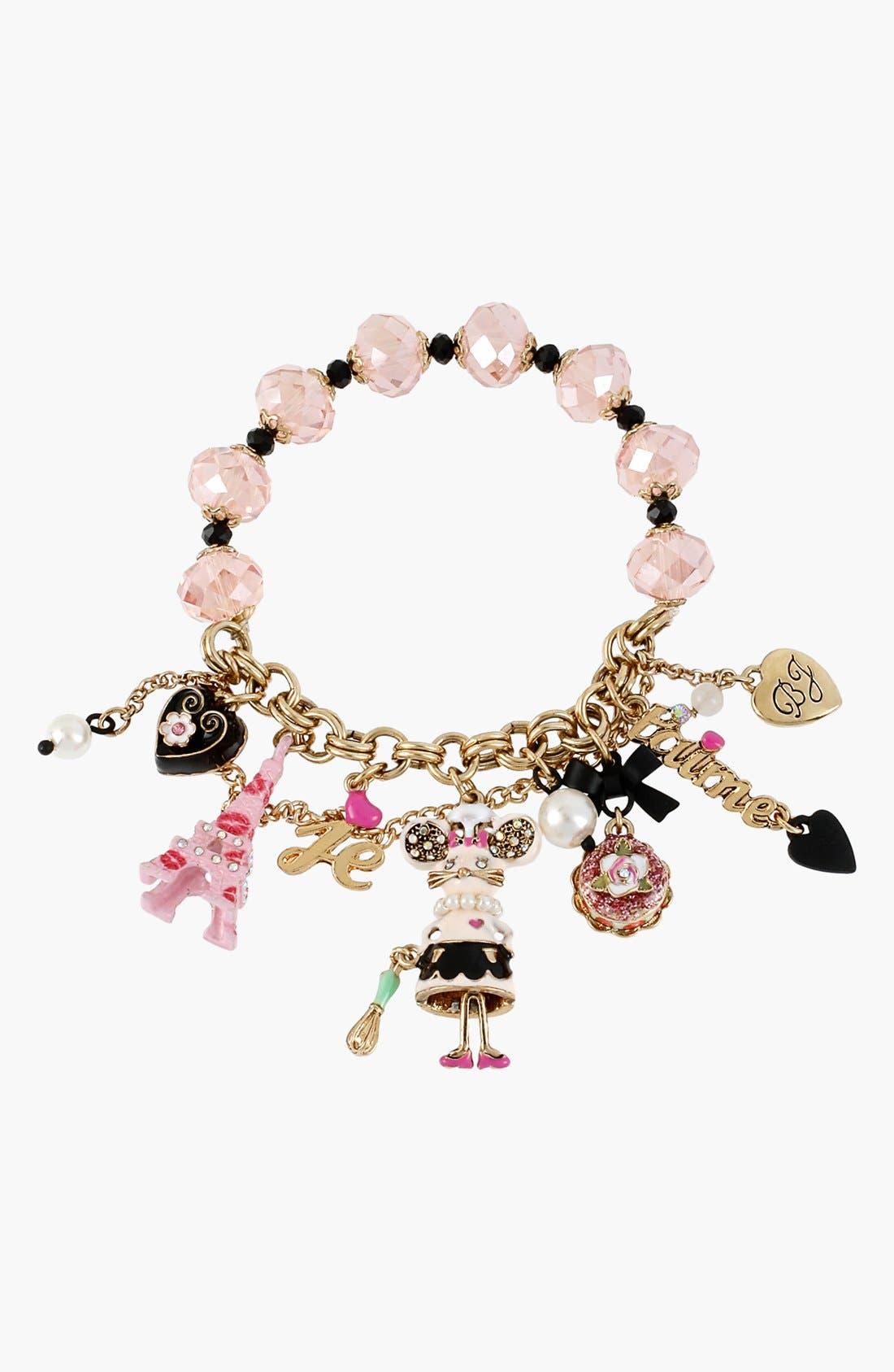 Alternate Image 1 Selected - Betsey Johnson 'Paris' Mouse Charm Stretch Bracelet