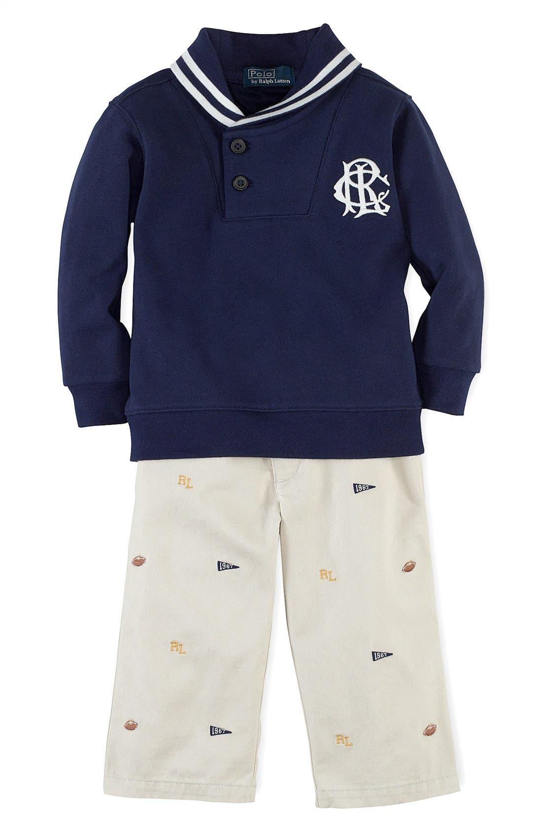 Alternate Image 1 Selected - Ralph Lauren Sweater & Pants (Baby Boys)