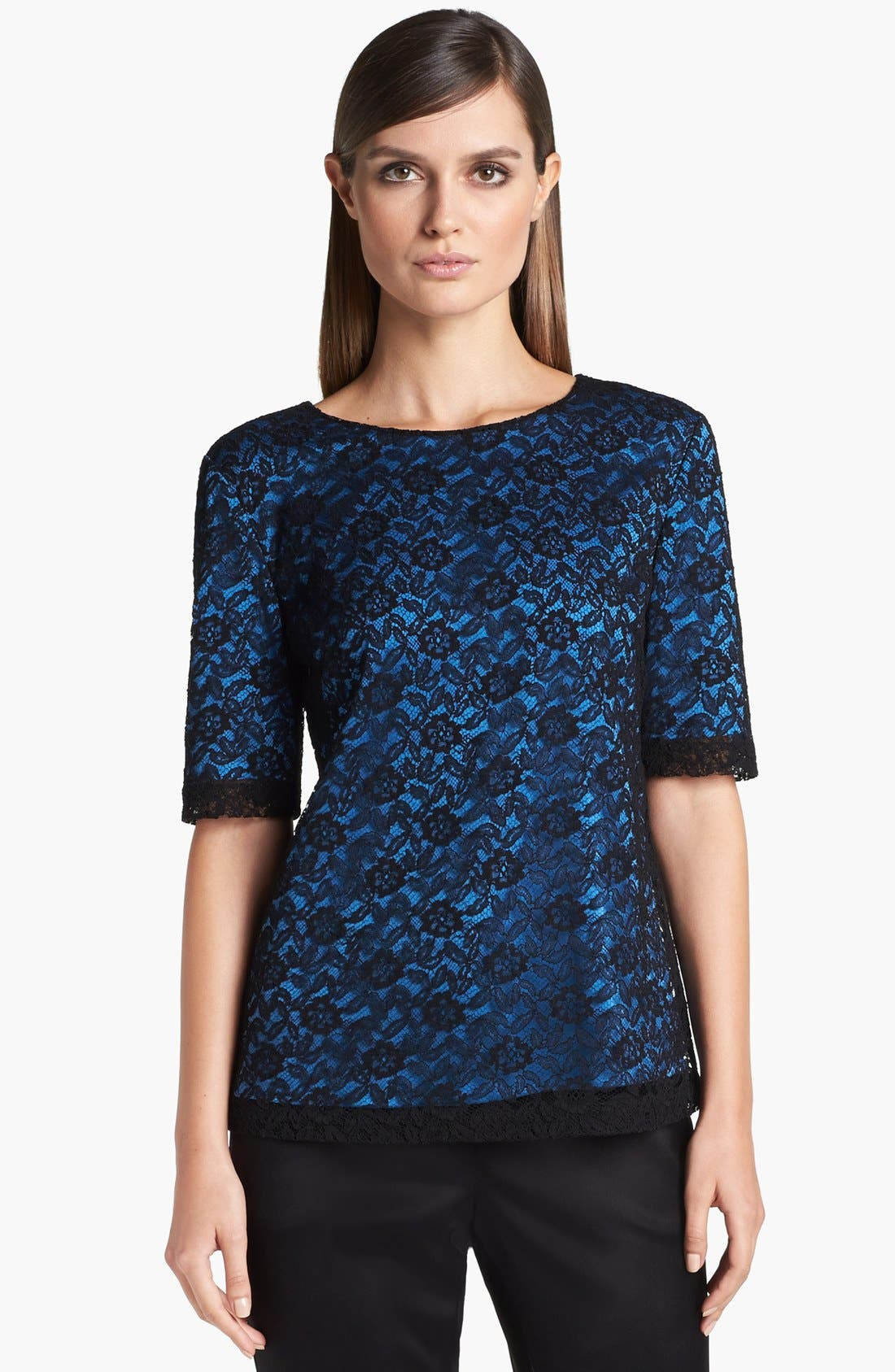 Alternate Image 1 Selected - St. John Collection Floral Lace Top