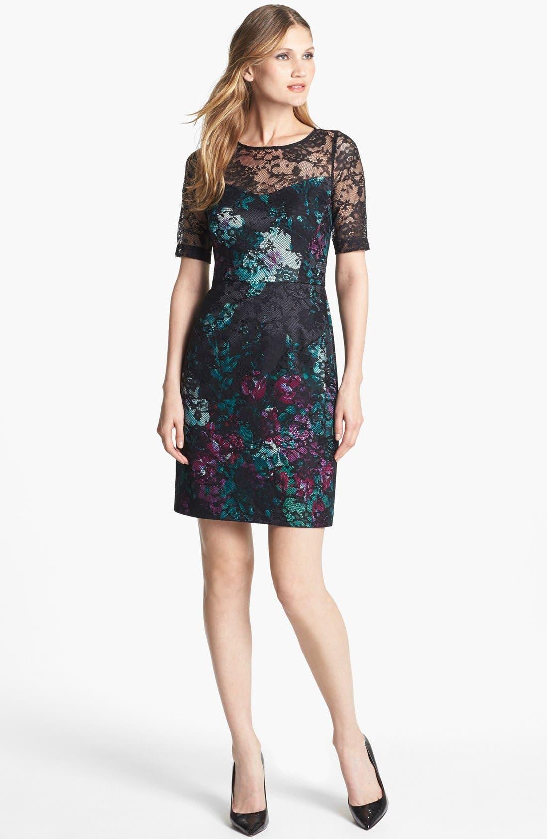 Main Image - Donna Ricco Illusion Lace Print Sheath Dress
