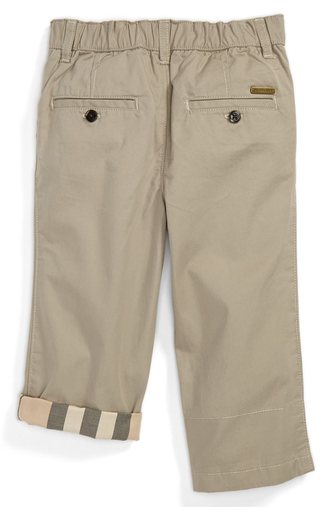 Alternate Image 2  - Burberry 'Ricky' Check Lined Roll Cuff Pants (Baby Boys)