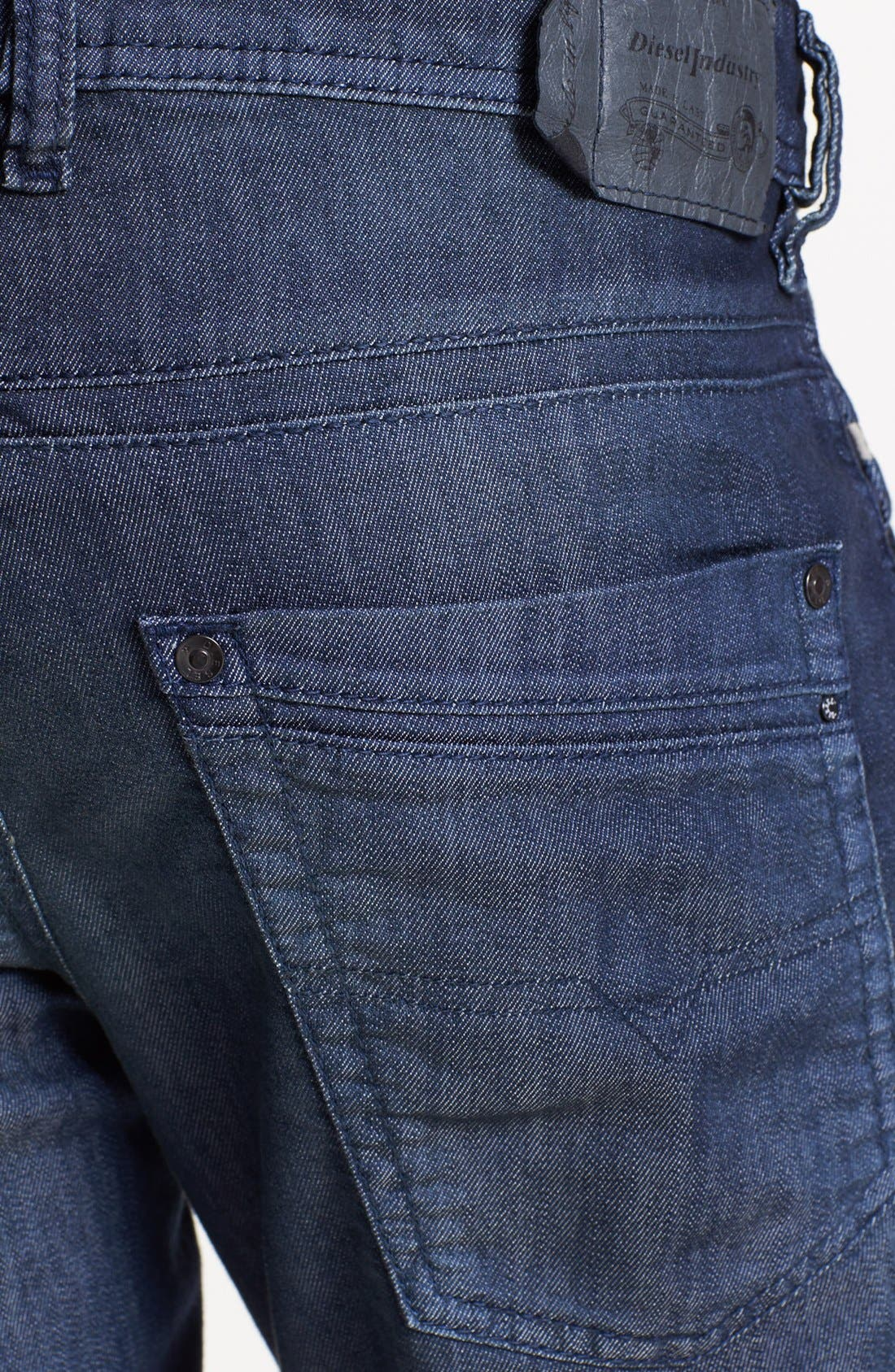 Alternate Image 4  - DIESEL® 'Krayver' Slim Fit Selvedge Jeans (Blue)