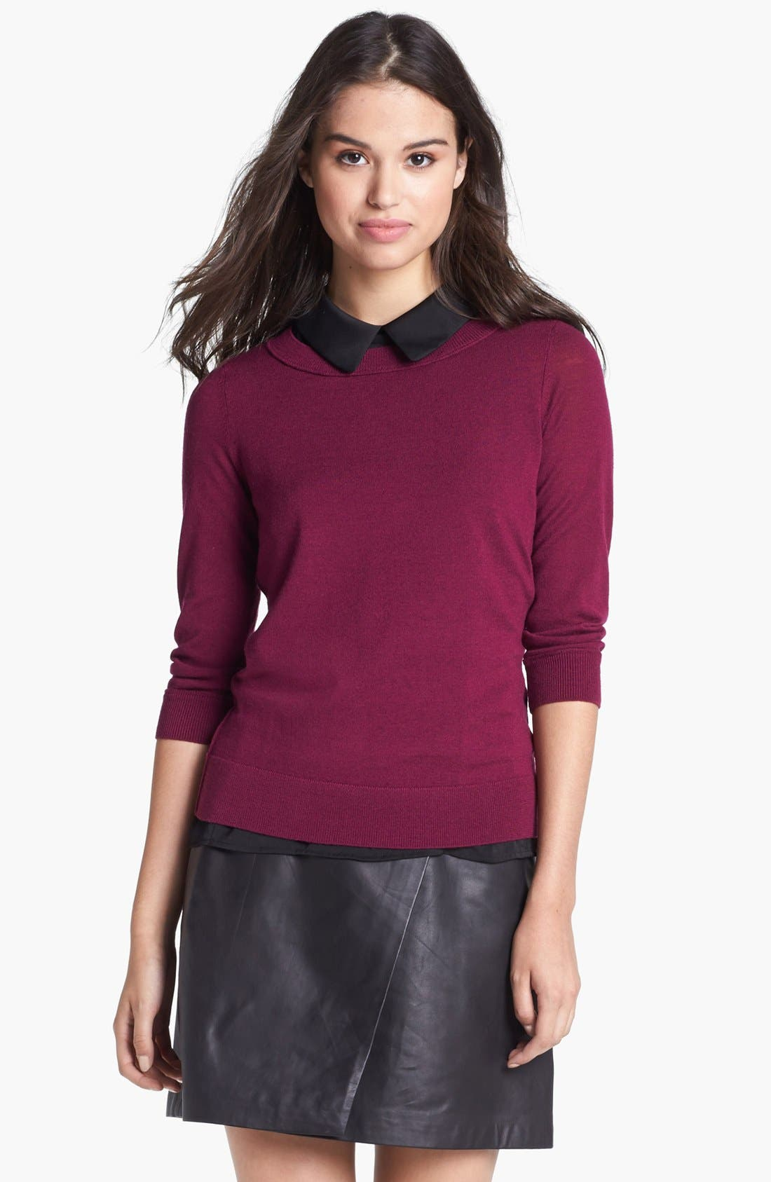 Alternate Image 1 Selected - Halogen® Three Quarter Sleeve Crewneck Sweater