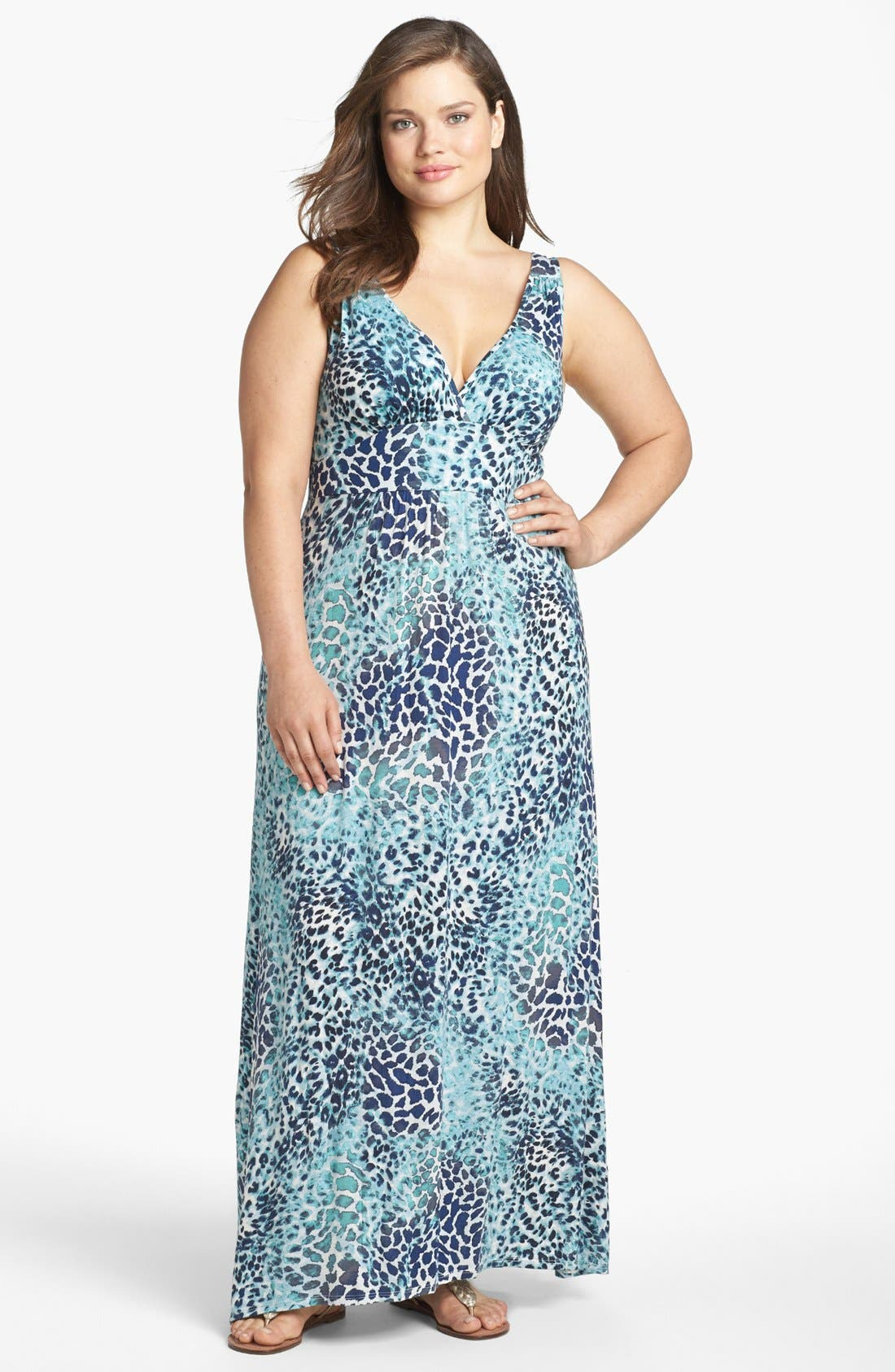 Alternate Image 1 Selected - Loveappella Print Jersey Maxi Dress (Plus Size)
