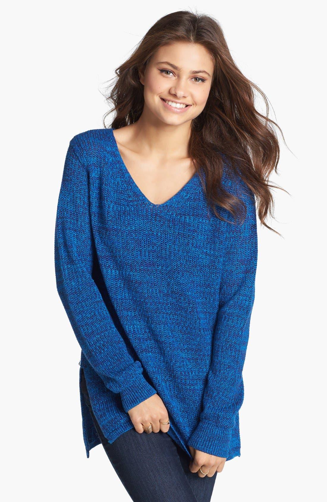 Alternate Image 1 Selected - BP. Side Slit Marled V-Neck Sweater (Juniors)