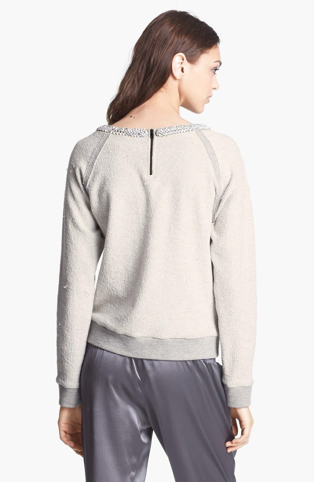 Alternate Image 5  - Haute Hippie Embellished Neck Inside Out Sweatshirt