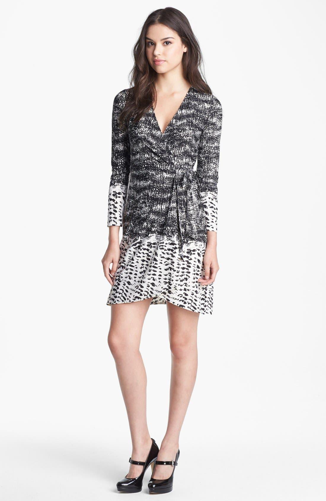 Main Image - BCBGMAXAZRIA Print Jersey Wrap Dress (Petite)