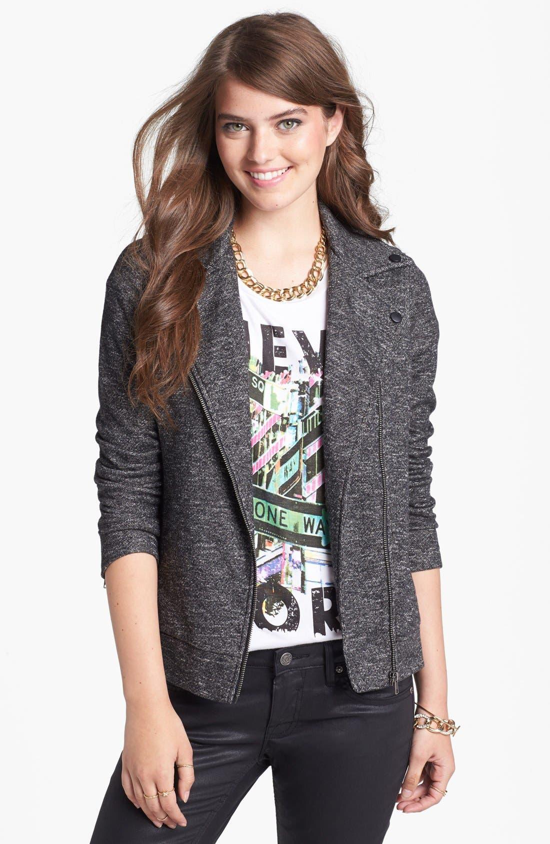Main Image - Staccato Knit Moto Jacket (Juniors)