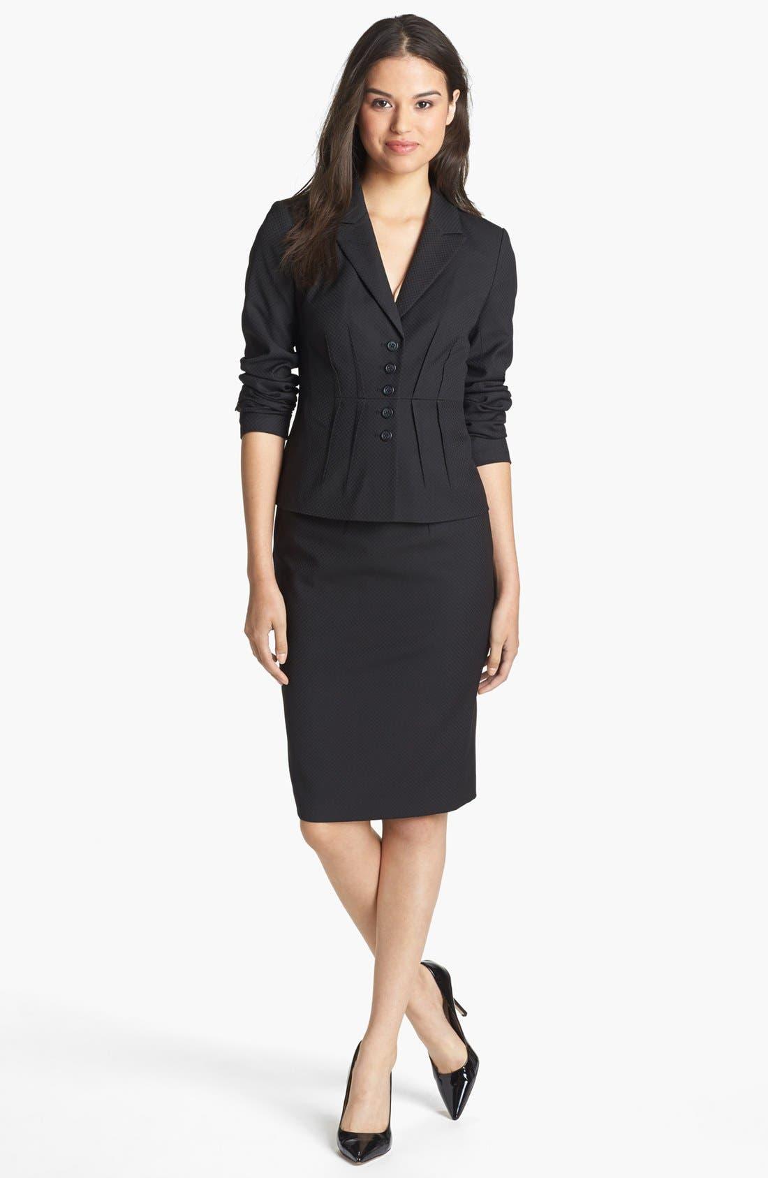 Alternate Image 2  - Halogen® Pleat Jacquard Suit Skirt
