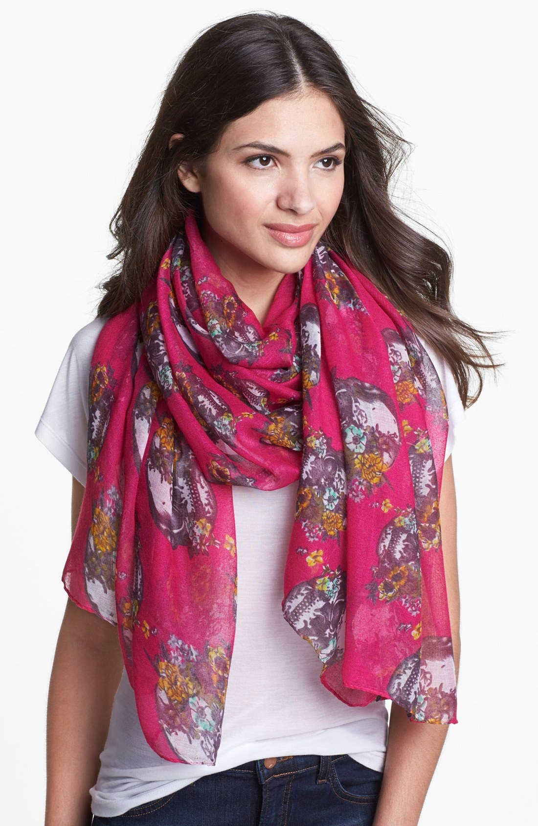 Alternate Image 1 Selected - Roffe Accessories Floral Skull Scarf