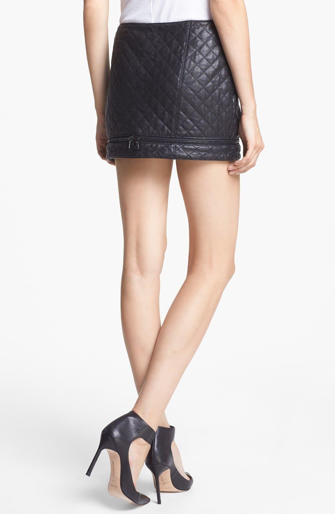 Alternate Image 2  - Haute Hippie Quilted Leather Miniskirt