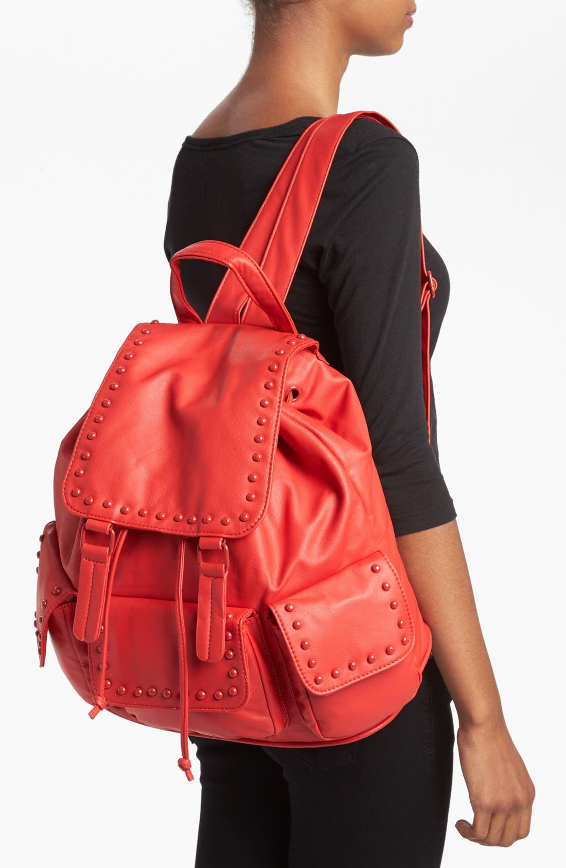 Alternate Image 2  - Cesca Enameled Studded Faux Leather Backpack (Juniors) (Online Only)