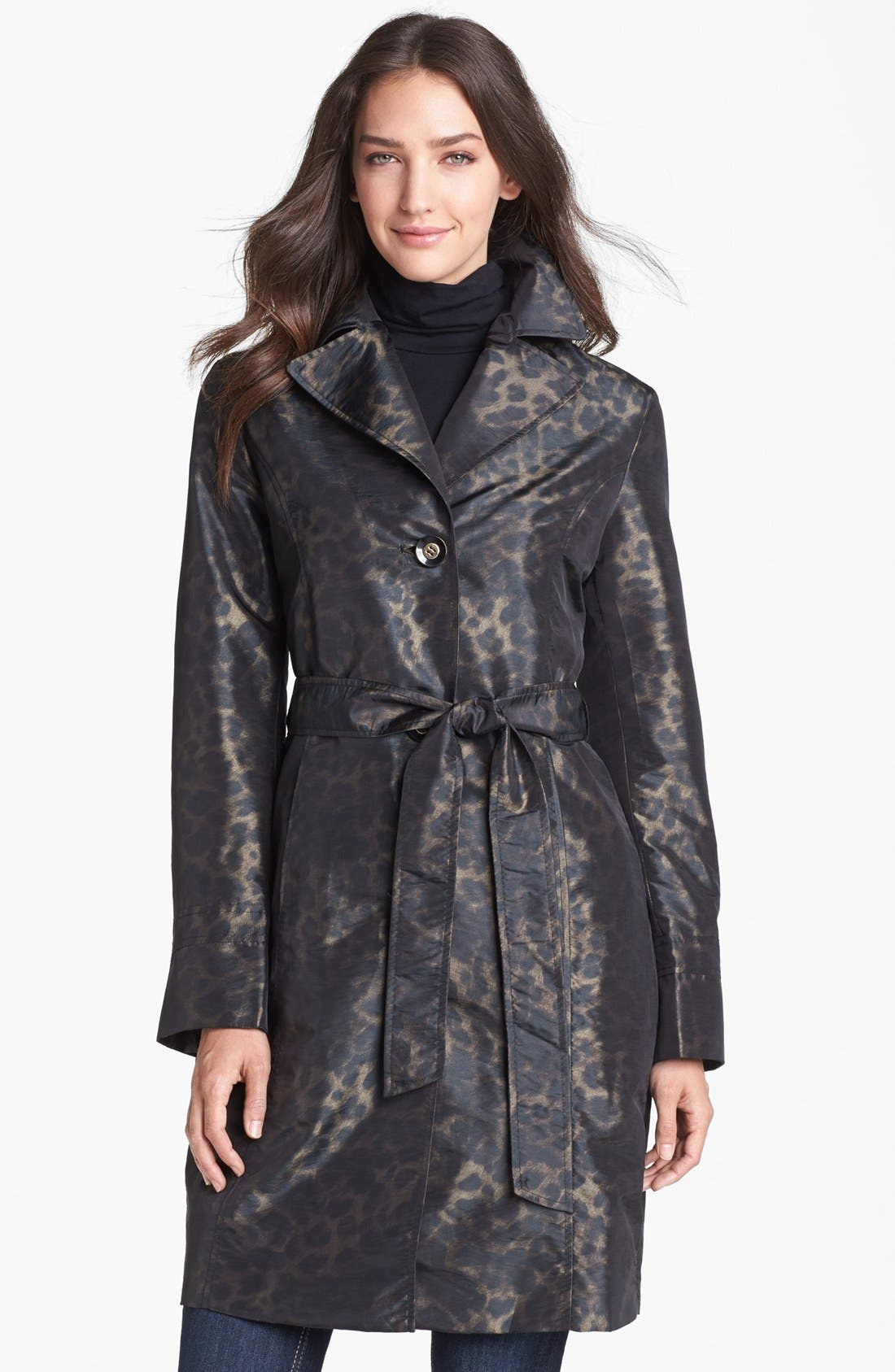 Alternate Image 4  - Ellen Tracy Belted Leopard Print Raincoat (Online Only)