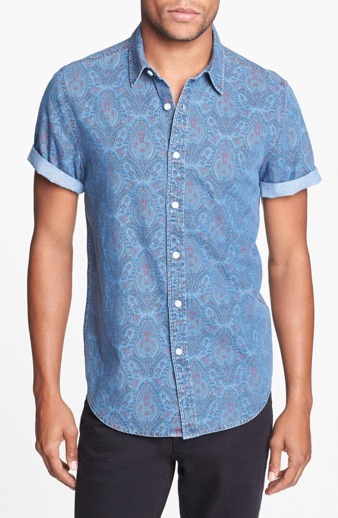 Alternate Image 1 Selected - Topman Short Sleeve Paisley Print Shirt