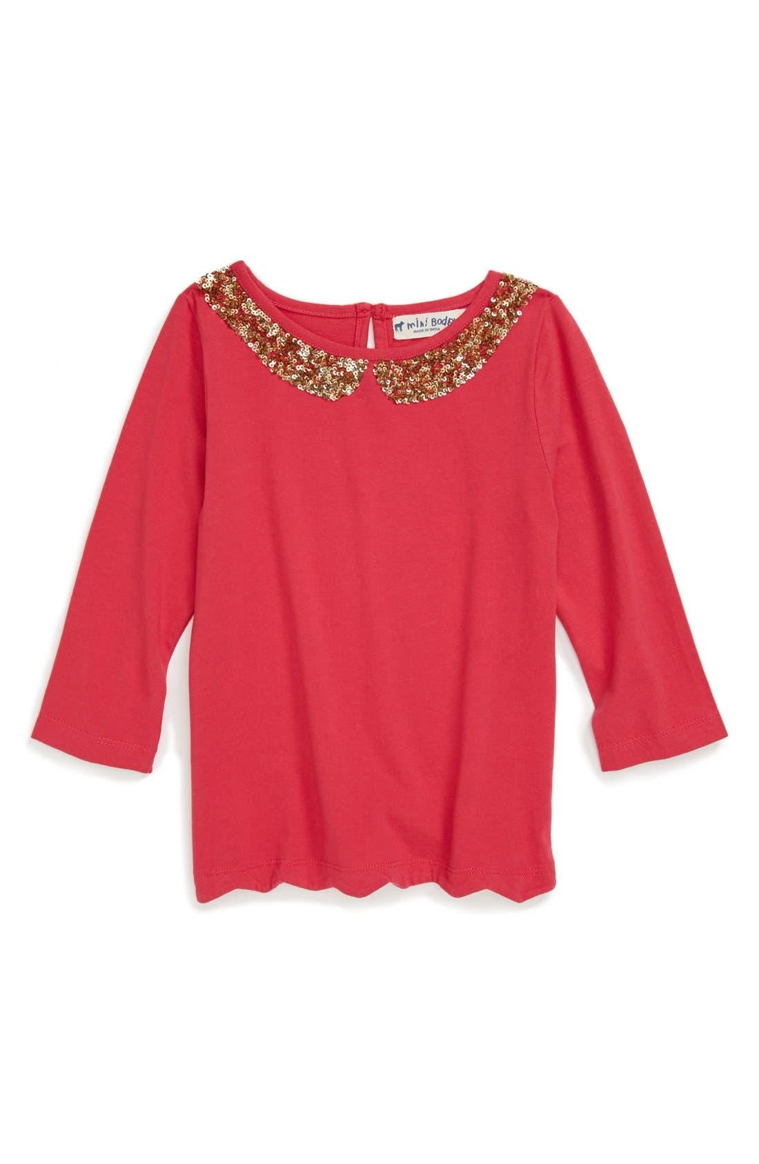 Main Image - Mini Boden 'Sequin Collar' Tee (Little Girls & Big Girls)