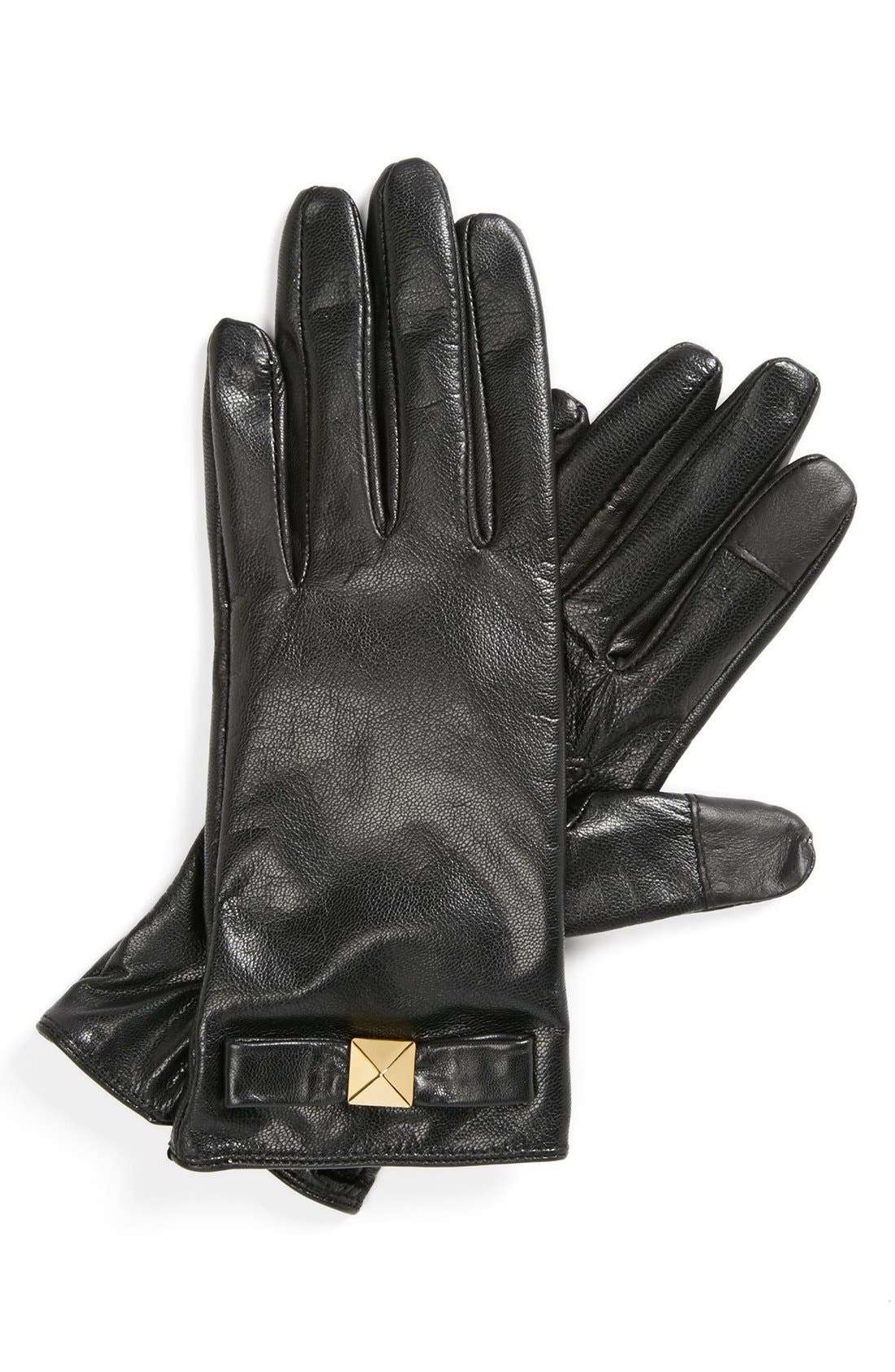Main Image - kate spade new york 'pyramid bow' leather tech gloves