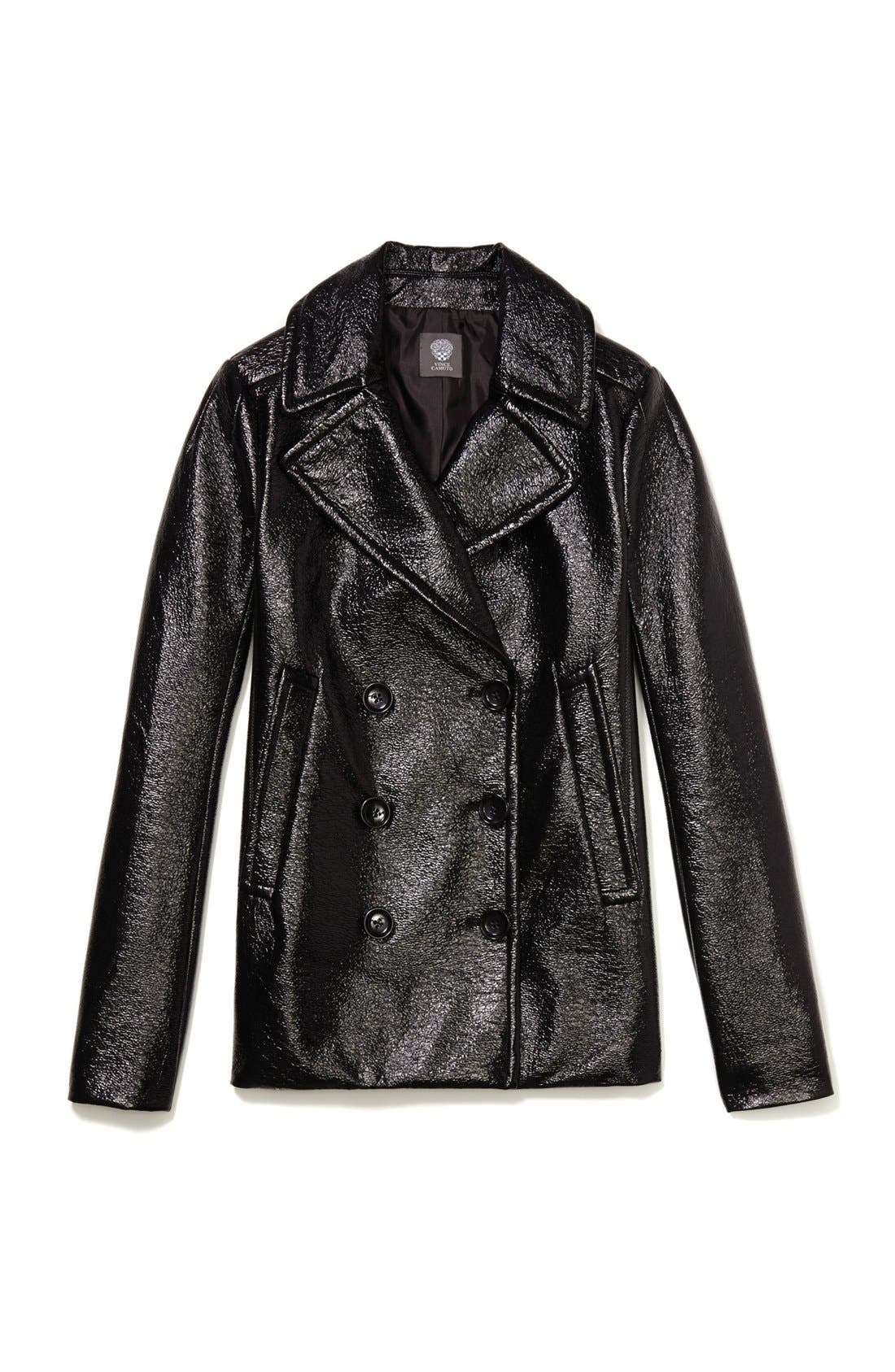 Alternate Image 4  - Vince Camuto Faux Leather Peacoat