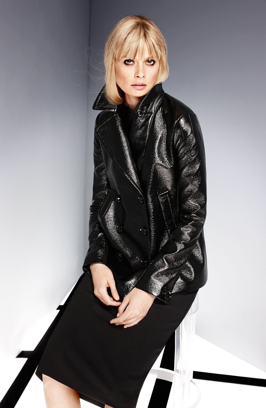 Alternate Image 5  - Vince Camuto Faux Leather Peacoat