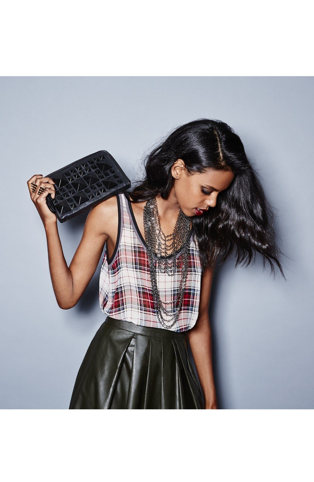 Alternate Image 6  - POVERTY FLATS by rian Matte Pyramid Stud Zip Clutch