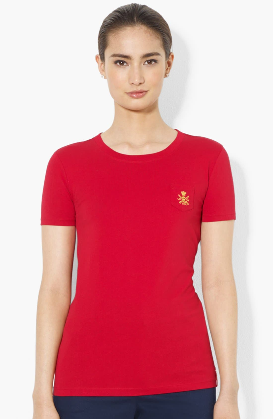 Alternate Image 1 Selected - Lauren Ralph Lauren Crest Pocket Tee
