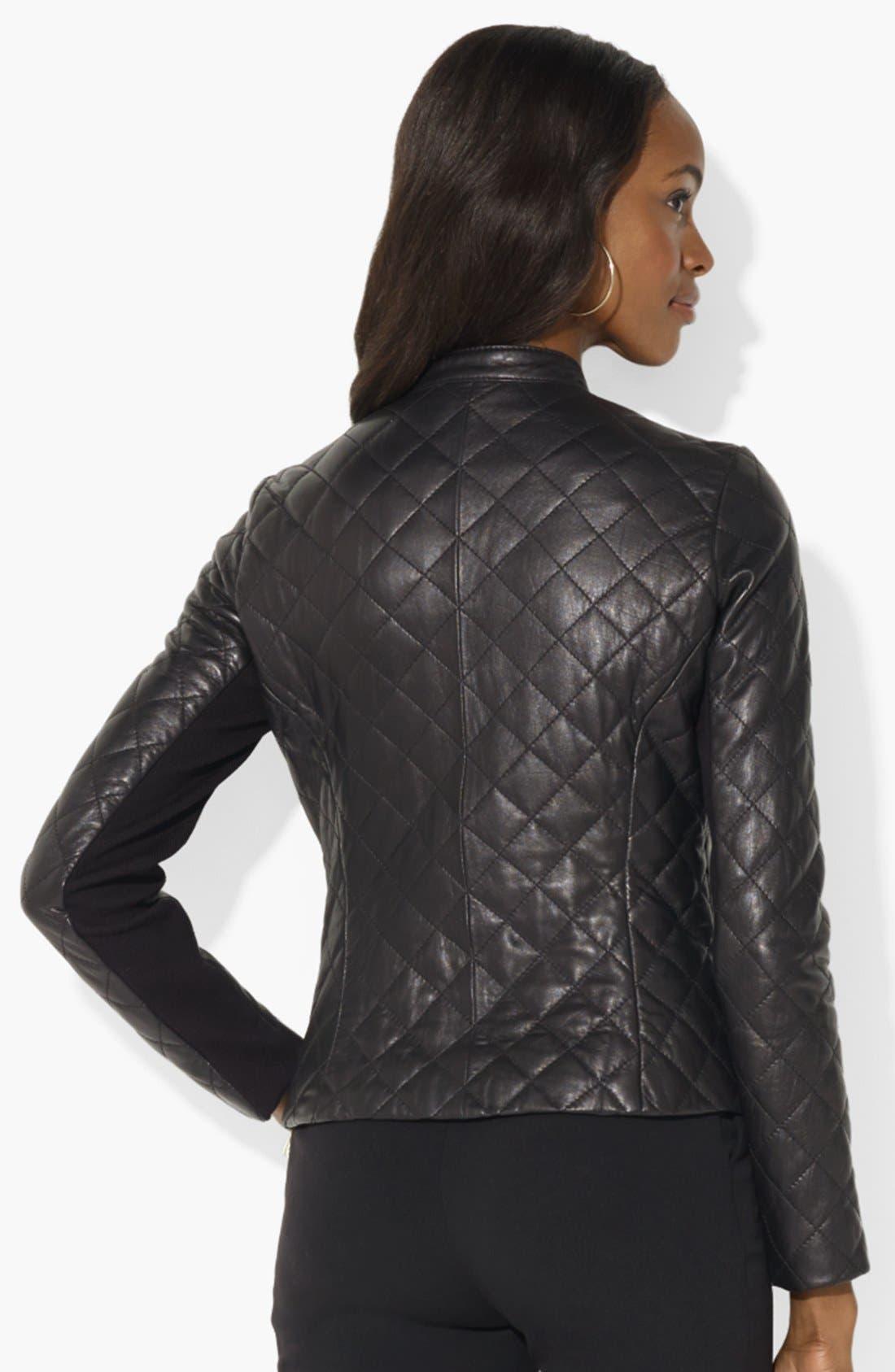 Alternate Image 2  - Lauren Ralph Lauren Quilted Leather Moto Jacket