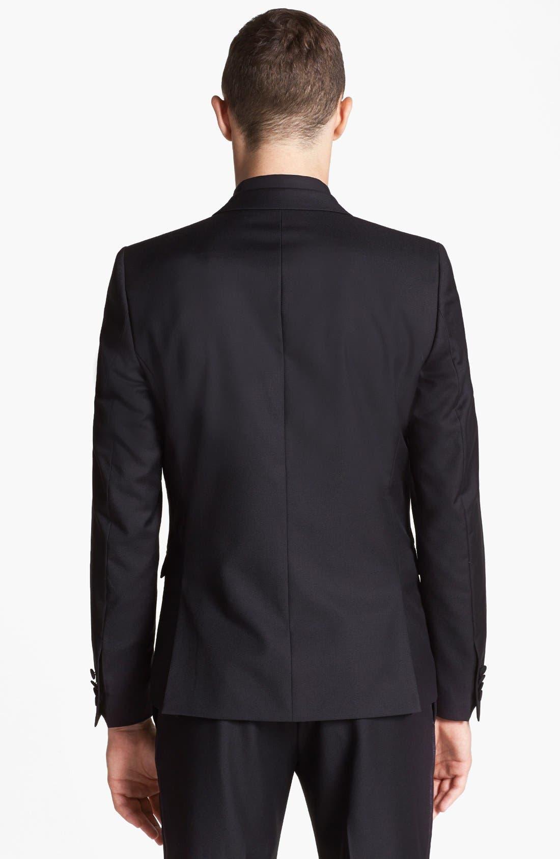 Alternate Image 3  - The Kooples Trim Fit Black Wool Tuxedo Jacket