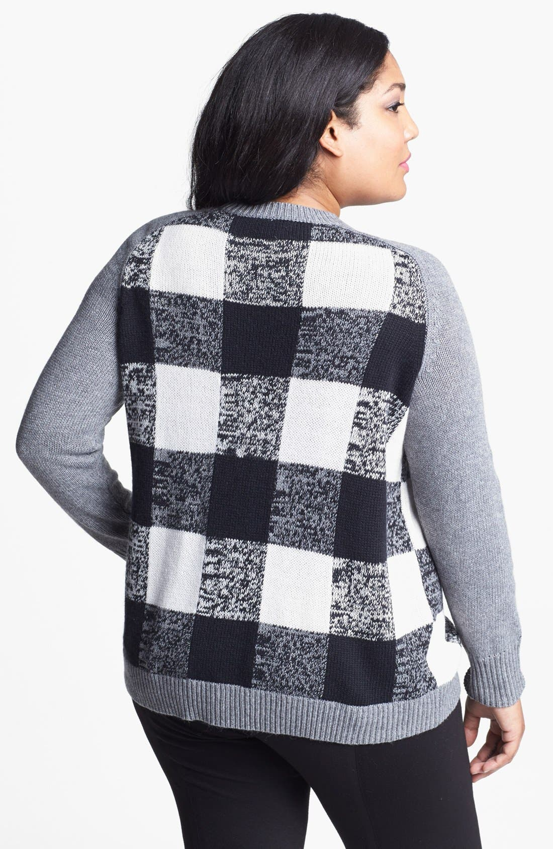 Alternate Image 2  - Halogen® Plaid Sweater (Plus Size)