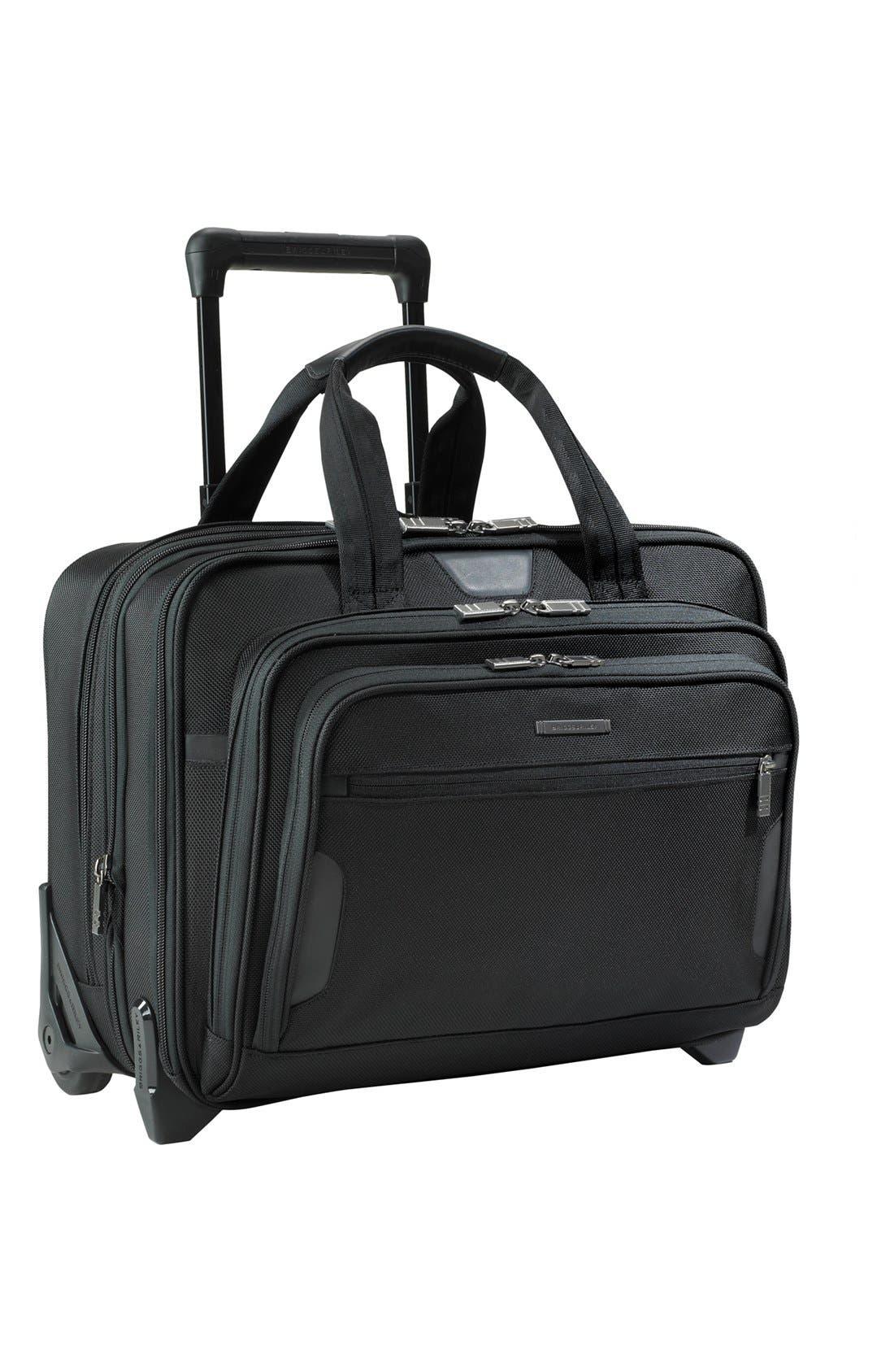 'Medium' Expandable Rolling Ballistic Nylon Briefcase,                             Main thumbnail 1, color,                             Black